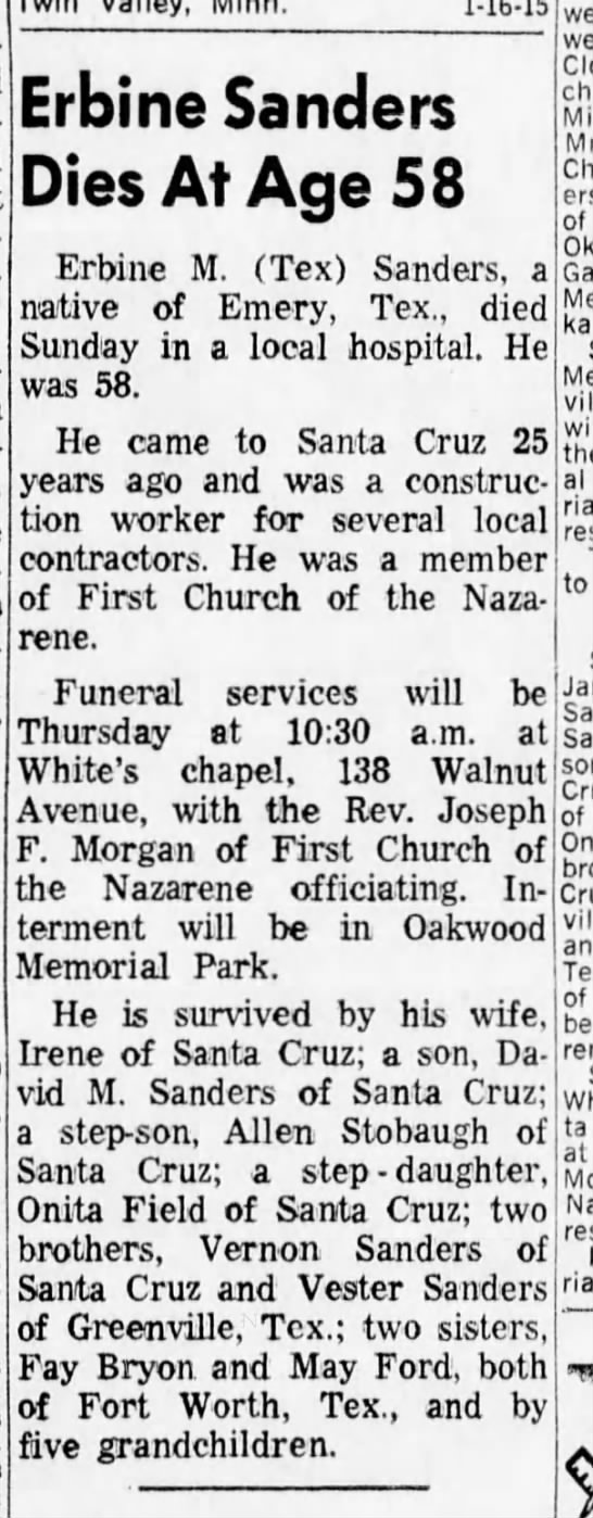 Erbine Sanders Obituary 16 Jan 1968 -