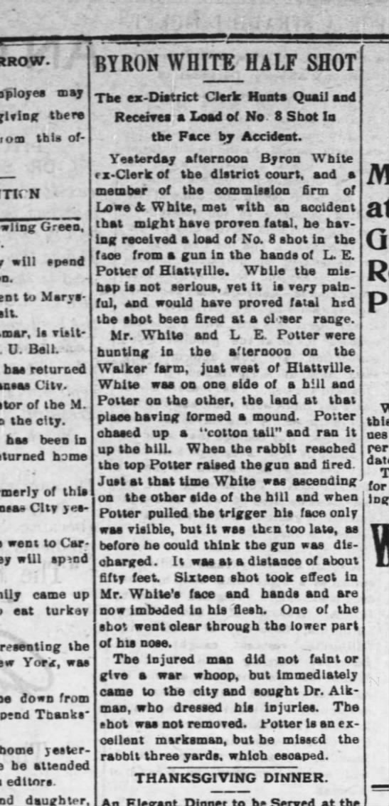 L. E. Potter story shot a man in the face- accidently- fort scott kansas 1897 -