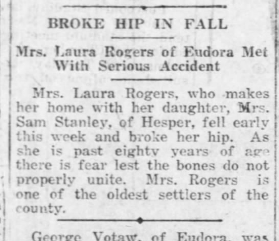 Rogers Laura broke hip 11 Dec 1920 Lawrence Daily Journal World -