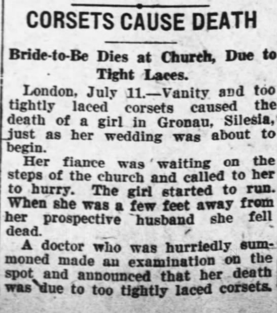Bride died of corset -