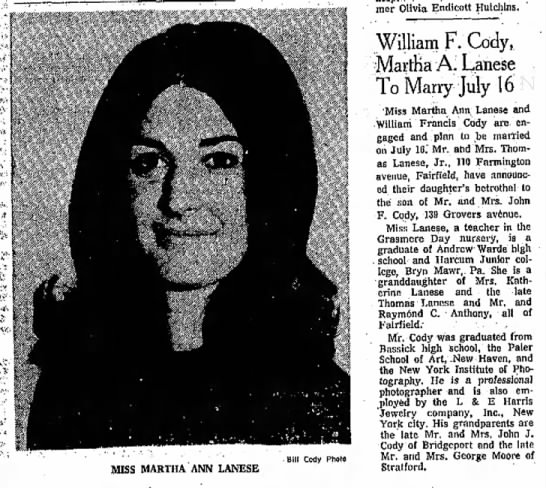 William F. Cody, Martha A. Lanese To Marry July 16 - MISS MARTHA ANN LANESE Bill Cody Photo former...