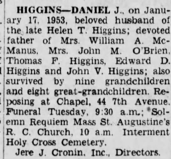 Daniel J Higgins death notice -