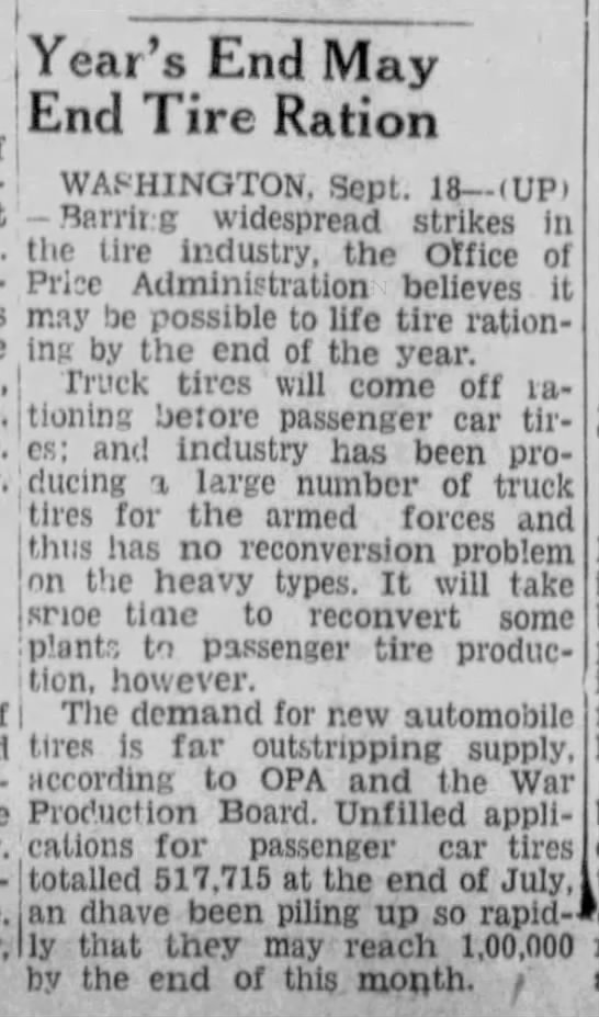 Tire Rationing to End -