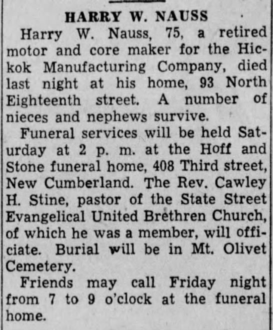 Harry W. Nauss obit-Sep 1947 -