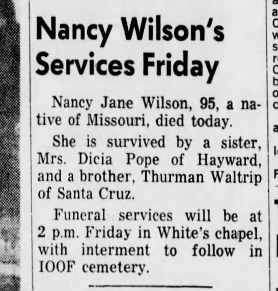 nancy Jane Waltrip Wilson Death 9 Feb 1965 - Newspapers com