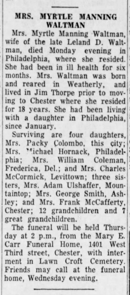 Myrtle (Manning) Waltman Obituary The Plain Speaker (Hazleton, Pa) 5-17-1961 -
