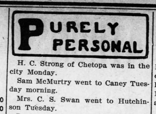 Mrs C.S. Swan went to Hutchinson -