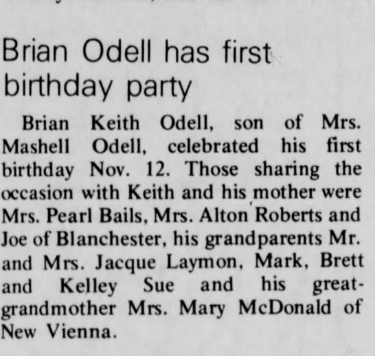 Brian O'Dell 1st birthday -