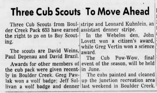 Cub Scouts 16 May 1968 -