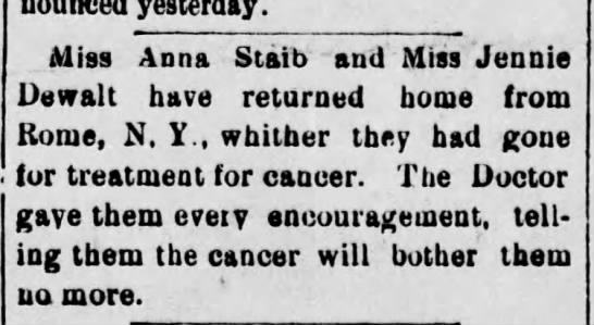 Article about Anna Staib returning from rome NY have some treatment for cancer -