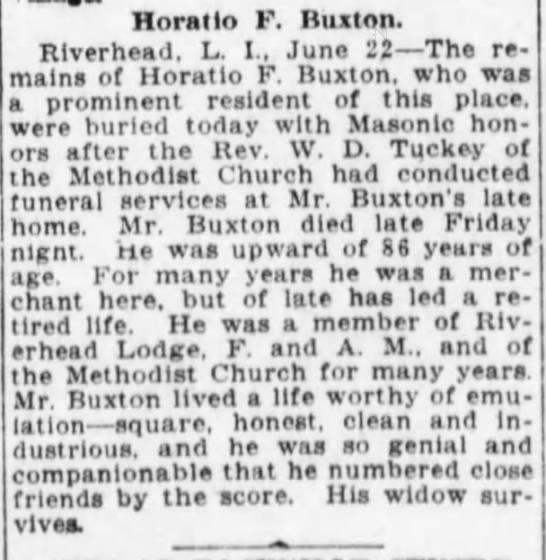 Horatio F. Buxton Obit 22 Jun 1914 Brooklyn, NY -