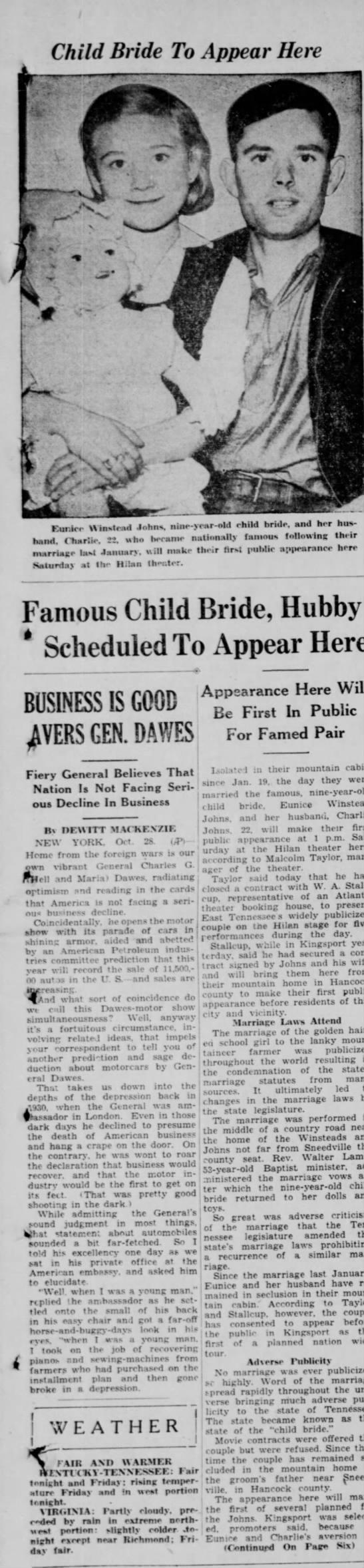 Child Bride-Hancock County Tenn. Eunice Winstead, age 9  married to Charlie Johns age 22. -