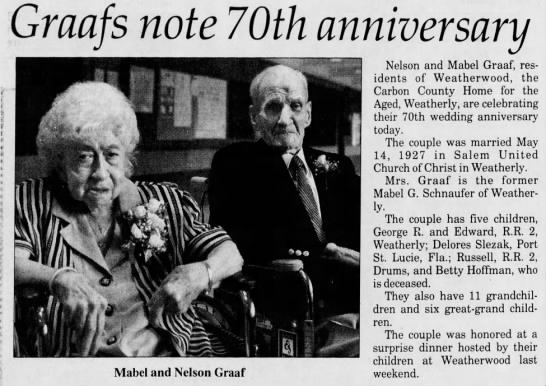 Mabel (Schnaufer) & Nelson Graaf's 70th wedding anniversary. -
