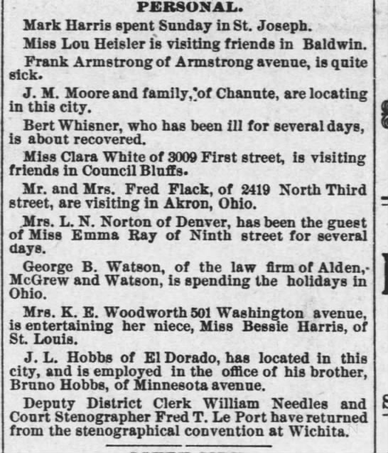 1889 12 30 KC Gazette p1 George Watson spending holidays in Ohio -