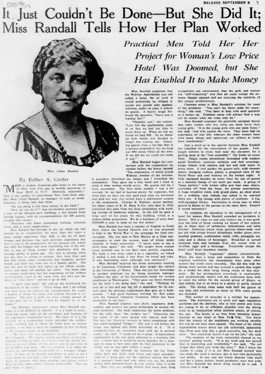 The Webster Apartments for Women - where Edith Giddens lived in NYC 1928 - 1931 -