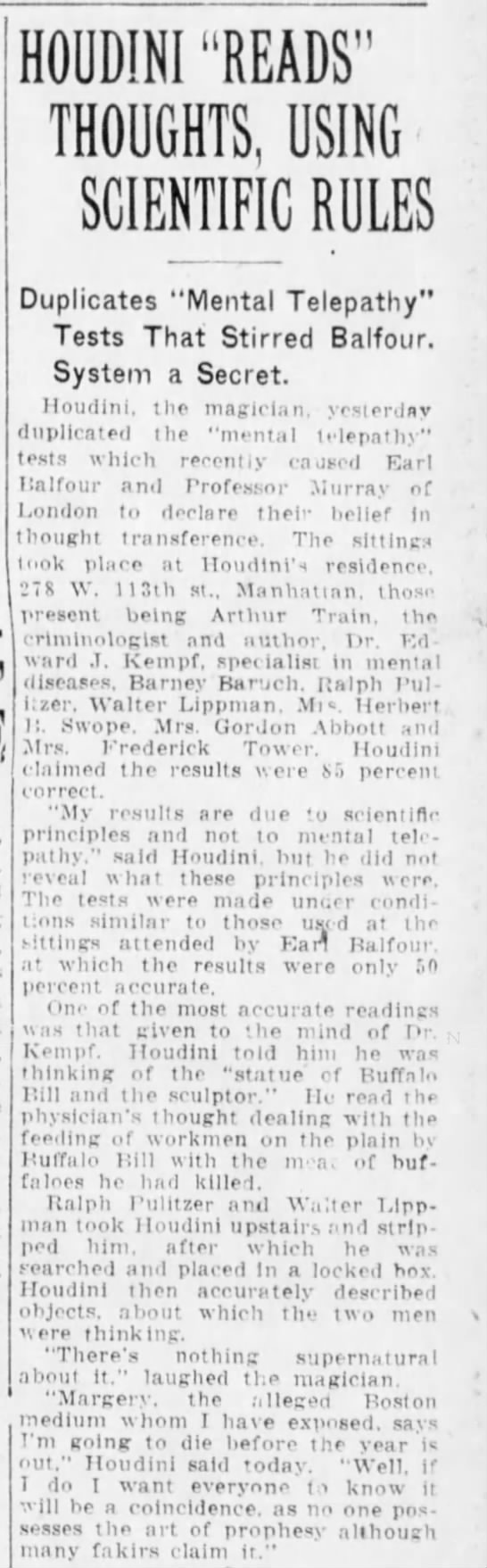 Houdini reads thoughts Balfour Murray Brooklyn Daily Eagle Feb 9 1925 -