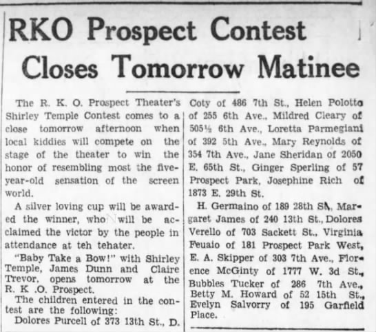 Betty M. Howard Competes in the Shirley Temple look-alike contest. (last paragraph) ~3 1/2 yrs old -