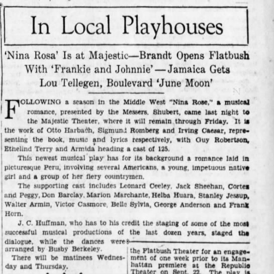 In Local Playhouses, The Brooklyn Daily Eagle (Brooklyn, New York) 14 September 1930, p31 -