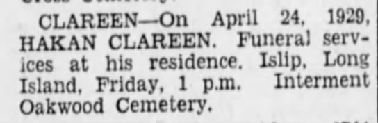 Haken Clareen Death Notice 25 Apr 1929 Brooklyn Daily Eagle -