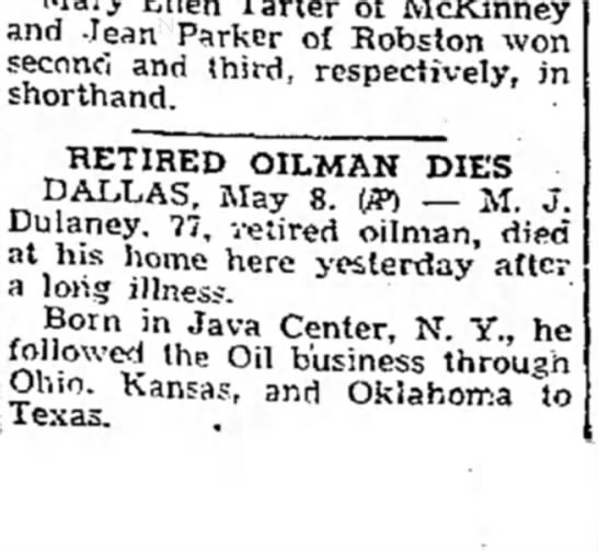 MJ Delaney Dies, Avalanche-Journal (Lubbock, Texas), 9 May 1943, Page 5  -