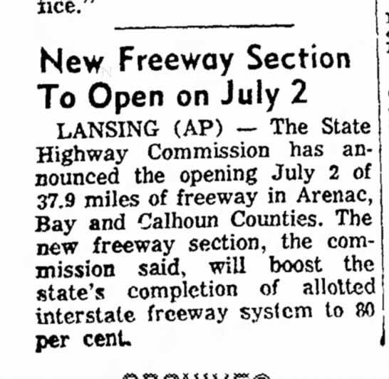 New Freeway Section To Open on July 2 -