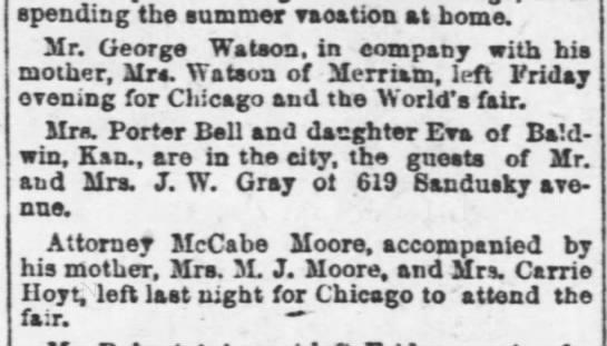 1893 10 08 KC Gazette p3 Watson took mother to World's fair -