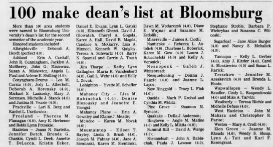 Bloomsburg University's dean's list -