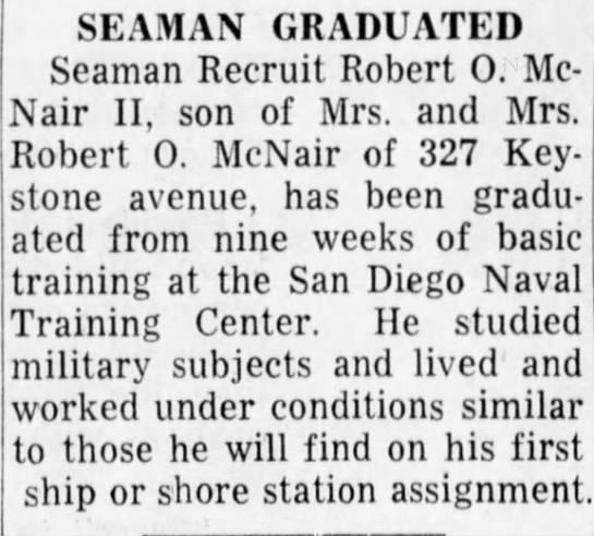- SEAMAN GRADUATED Seaman Recruit Robert O....