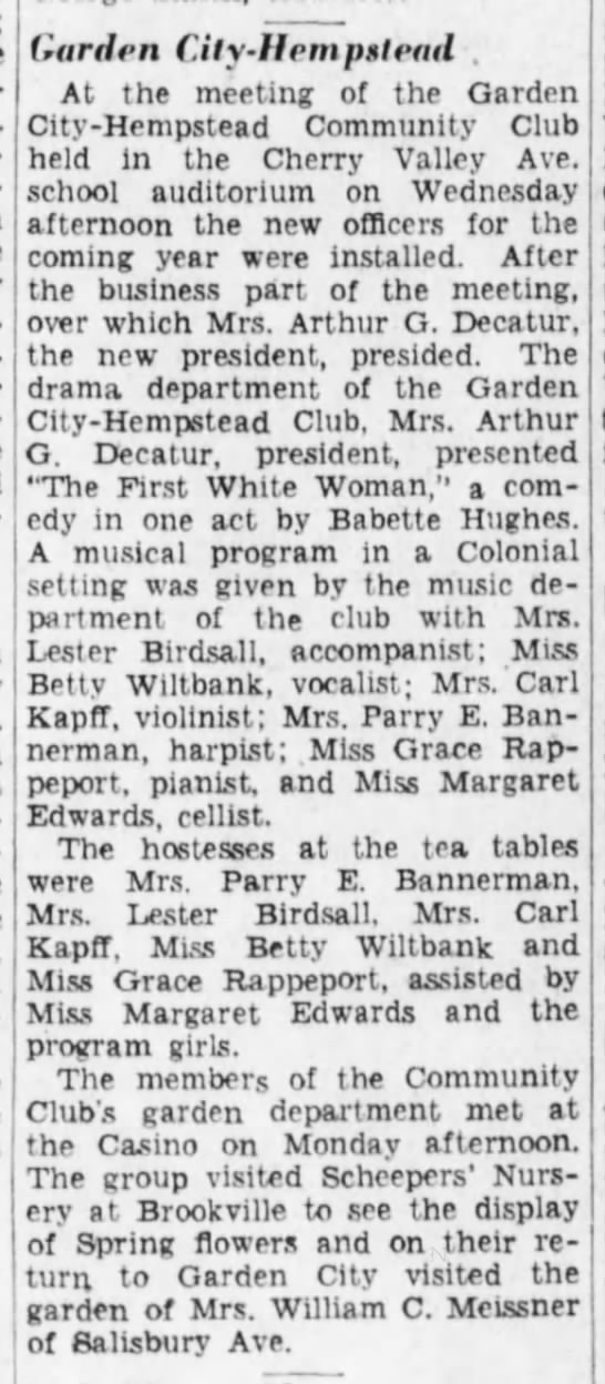 Garden City-Hempstead, The Brooklyn Daily Eagle (Brooklyn, New York) May 8, 1932, page 26 -