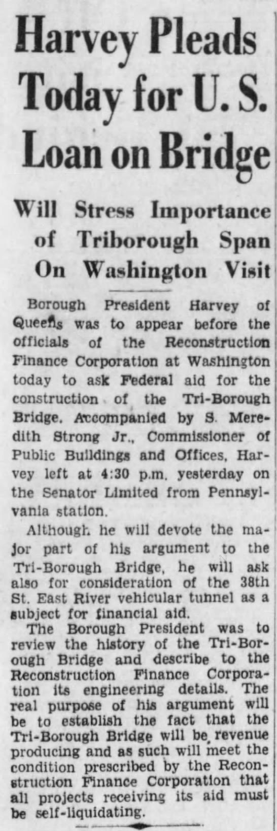 Harvey Pleads Today for U.S. Loan on Bridge -