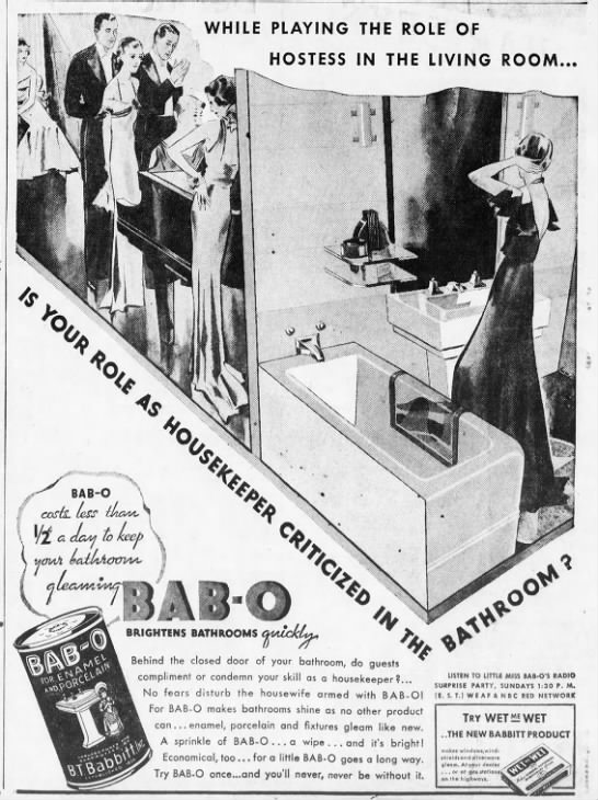 BAB-O Ad, Brooklyn Eagle, March 15, 1934. -