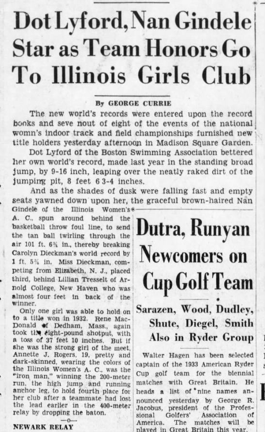 1933 Illinois Women's Athletic Club; record by Nan Gindele -