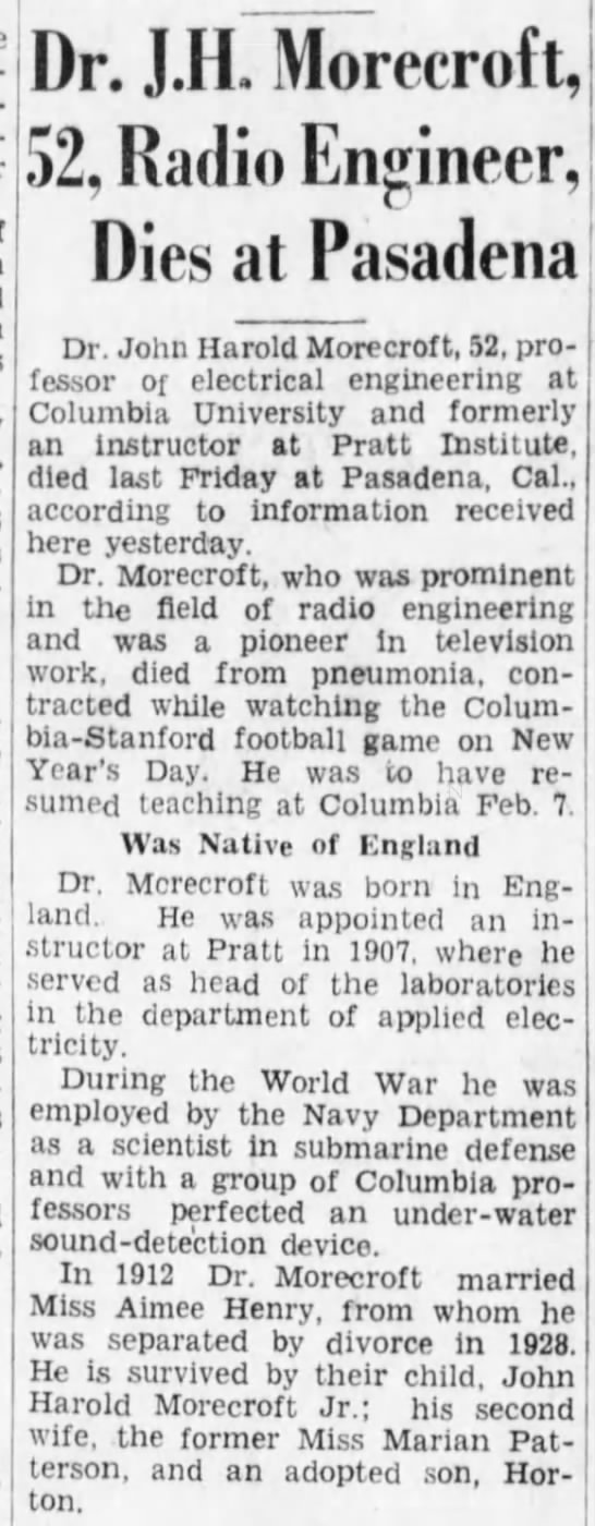 John Harold Morecroft death notice -