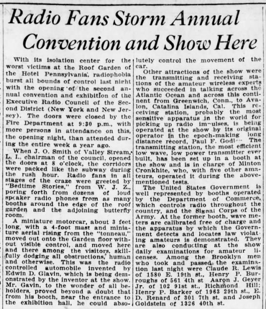 Radio fans storm annual convention and show here (1922) -