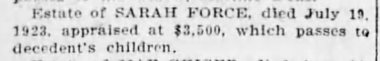 Force, Sarah estate The Brooklyn Daily Eagle (NY) 13 Mar 1924, p3. -