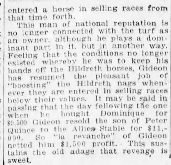 - entered a horse in selling races from that time...