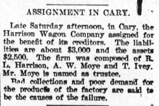 Harrison Wagon Co assigned for benefit of the creditors; T Ivey -