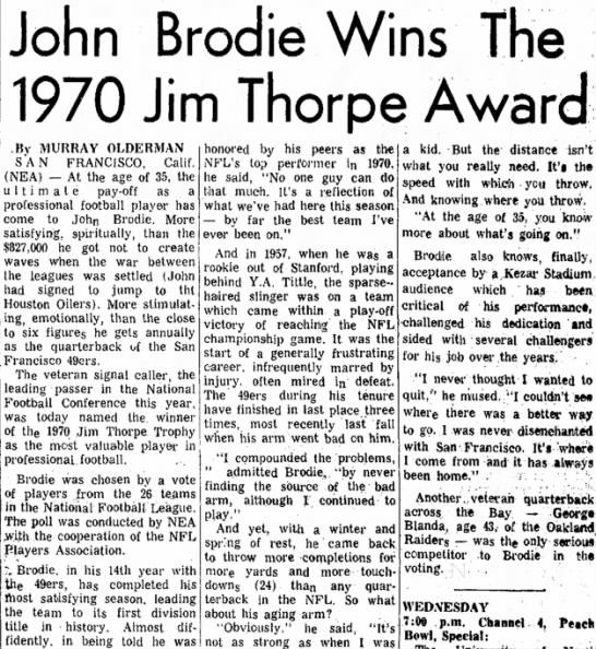 John Brodie Wins The 1970 Jim Thorpe Award -