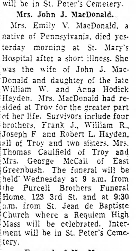 Mrs. Emily V. MacDonals, dtr of William and AnnaTroy Record 1 Apr 1957 -