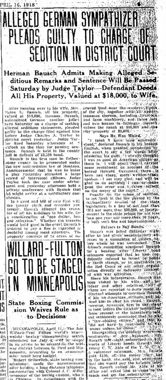 "Herman Bausch case; 19 April 18 ""Billings [Montana] Gazette"" p. 5 -"
