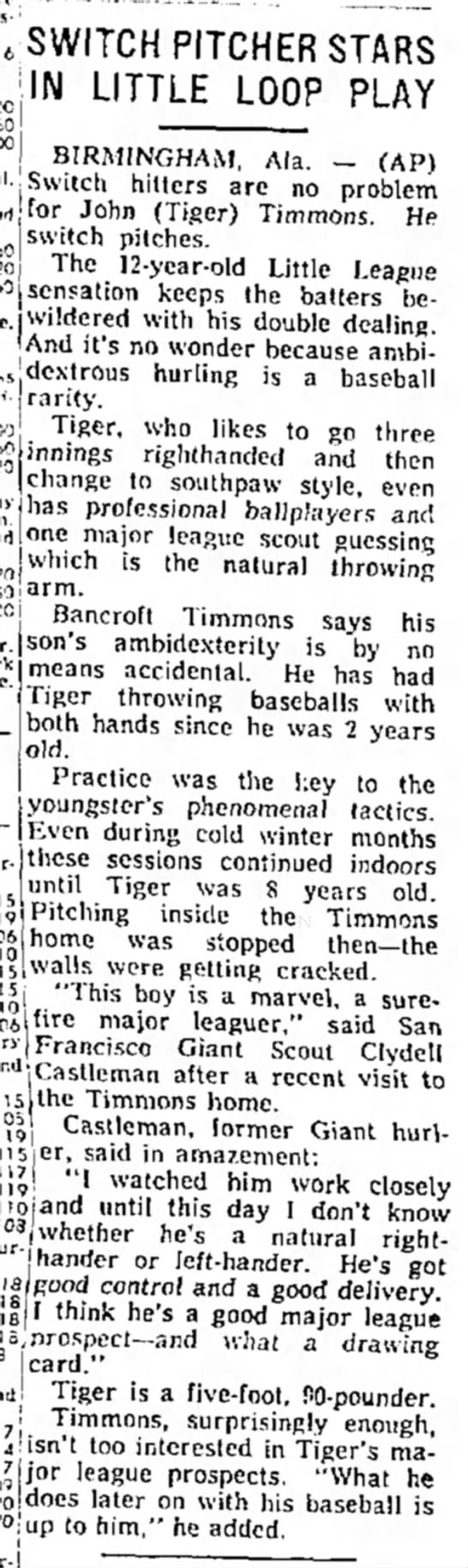 Tiger Timmons - Little League Switch Pitcher 1958 -