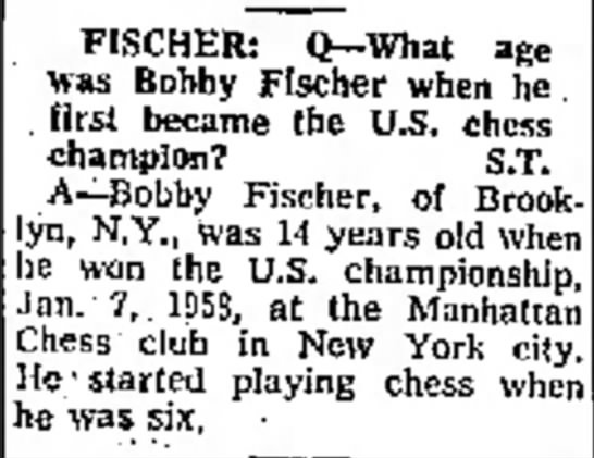 What age was Bobby Fischer when he first became the U.S. Champion? -