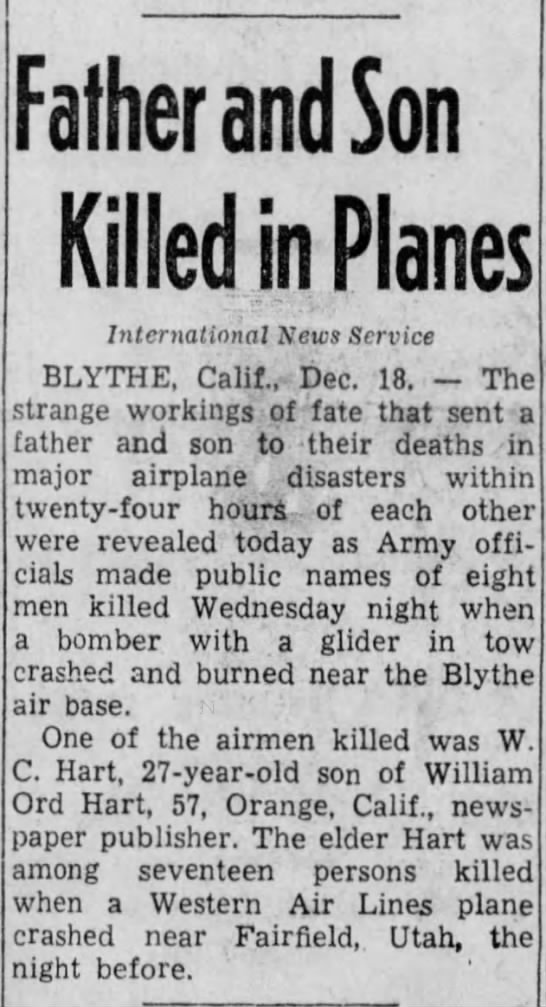 Front Page article re double airplane crash, The Evening News (Harrisburg, PA) -