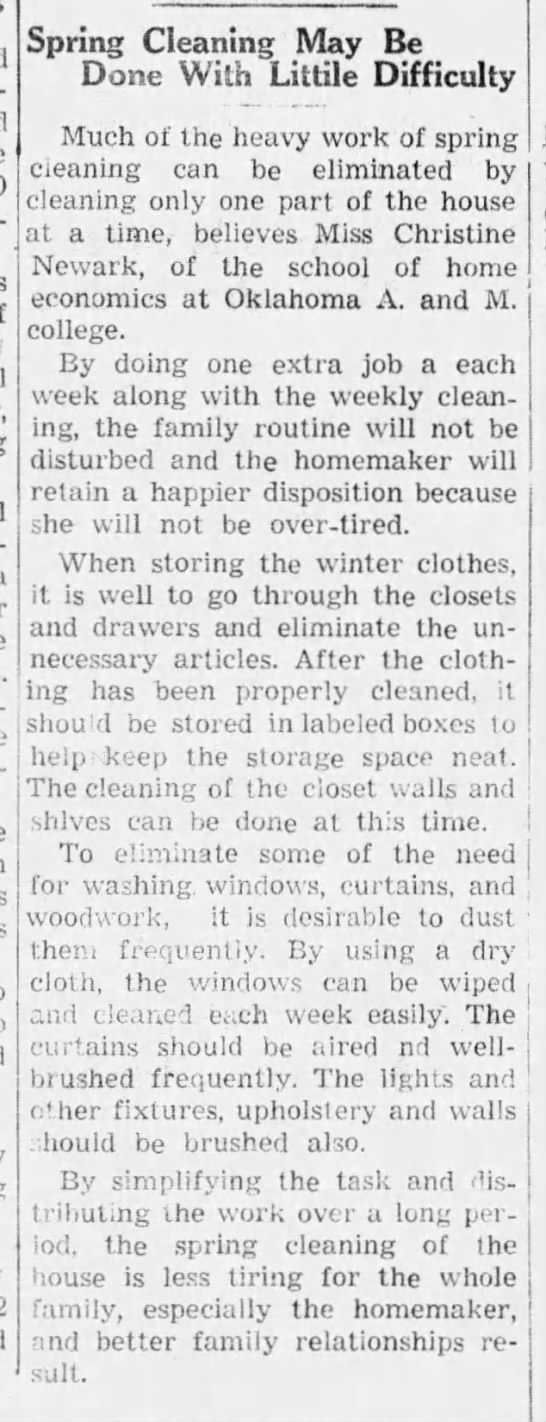 How to avoid need for spring cleaning, 1940 -