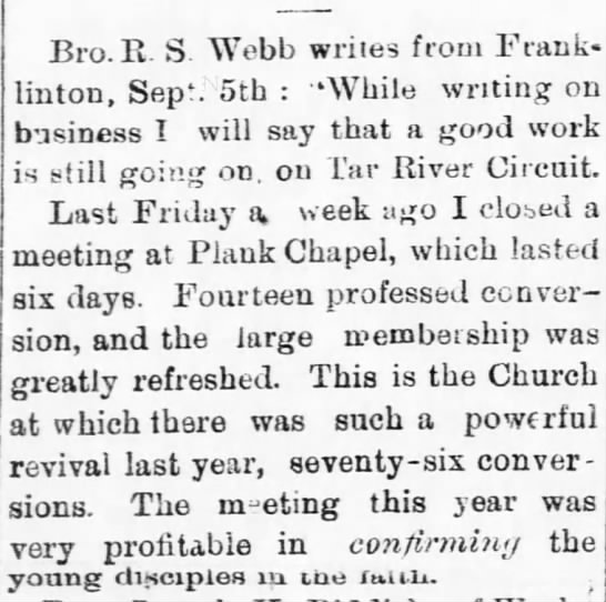 Plank Chapel, Raleigh Christian Advocate, 12 Sept 1877 -