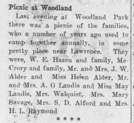 Mary picnic at Woodland -