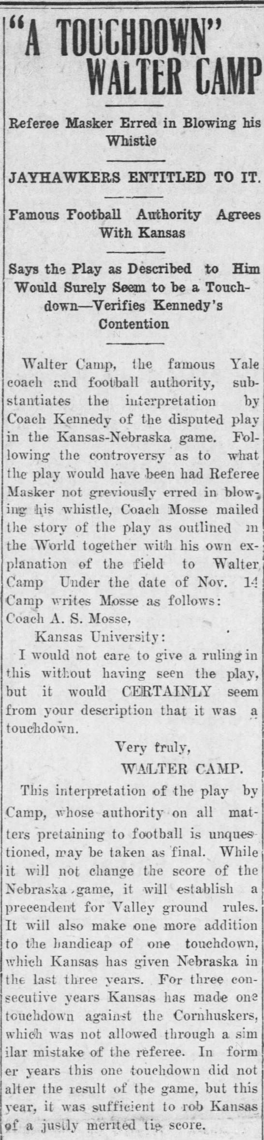 1910 Nebraska-Kansas disputed play, Walter Camp -