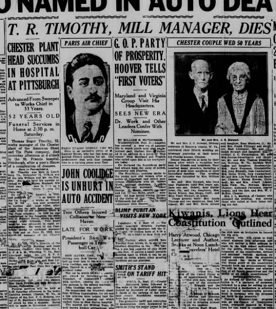 Obituary of T.R. Timothy (more details of his life in this one) -