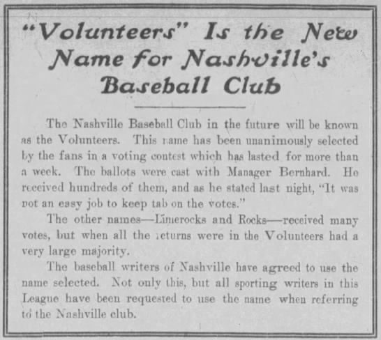 """""""Volunteers"""" is the New Name for Nashville's Baseball Club -"""