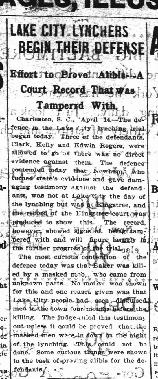 1898 - Baker Trial - Defense -